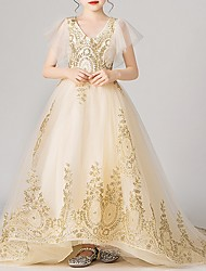 cheap -Ball Gown Sweep / Brush Train Pageant Flower Girl Dresses - Polyester Short Sleeve V Neck with Appliques