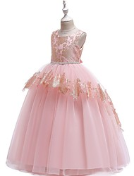 cheap -Ball Gown Floor Length Pageant Flower Girl Dresses - Tulle Sleeveless Jewel Neck with Lace / Bow(s)