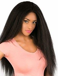 cheap -Remy Human Hair Unprocessed Virgin Hair 4x4 Closure Wig Middle Part style Brazilian Hair Peruvian Hair kinky Straight Natural Black Wig 180% Density Best Quality Hot Sale 100% Virgin Comfy Women's