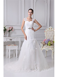 cheap -Sheath / Column Sweetheart Neckline Chapel Train Lace / Tulle Regular Straps Made-To-Measure Wedding Dresses with Beading / Appliques / Ruched 2020