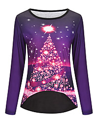 cheap -Women's Christmas Tunic Star Long Sleeve Print Round Neck Tops Christmas Basic Top Blue Purple Red