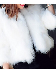 cheap -Women's Holiday Winter / Fall & Winter Short Fur Coat, Solid Colored Round Neck Long Sleeve Faux Fur Black / White / Dark Green