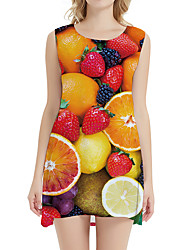 cheap -Women's Day Clutches Street Street chic Sheath Dress - Fruit Print Rainbow XS S M L