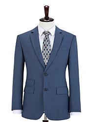 cheap -Steel Blue Plaid Wool Custom Suit