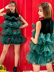 cheap -Christmas Trees Dress Women's Adults' Costume Party Christmas Christmas Polyester Dress / Velvet