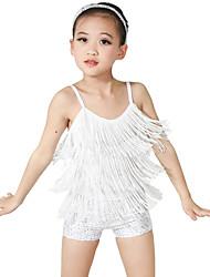 cheap -Kids' Dancewear Unitards Girls' Performance Spandex / Lycra Tassel / Paillette Sleeveless High Leotard / Onesie / Headwear