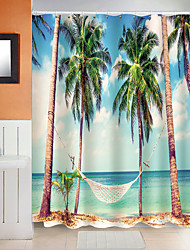 cheap -Shower Curtain Seaside Coconut Tree Pattern Polyester Fabric Waterproof Shower Curtain with Hooks for Bathroom 180*180cm