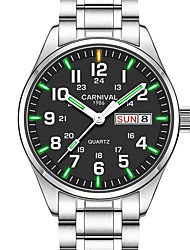 cheap -Carnival Men's Wrist Watch Quartz Stainless Steel Silver 30 m Water Resistant / Waterproof Calendar / date / day Luminous Analog Charm Casual Fashion Dress Watch Aristo - Green / White Blue / White