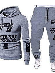 cheap -Men's Activewear Set / Hoodie Letter Hooded Casual / Street chic Sports Slim White Black Light gray US34 / UK34 / EU42 US36 / UK36 / EU44 US40 / UK40 / EU48 US42 / UK42 / EU50