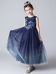 abordables -Enfants Fille Géométrique Robe Bleu Marine