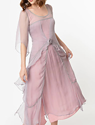 cheap -A-Line Scoop Neck Tea Length Chiffon / Tulle Bridesmaid Dress with Tier / Cascading Ruffles