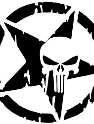 cheap -2pcs The Punisher Skull Car Sticker Pentagram Vinyl Decals Motorcycle Accessories