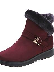 cheap -Women's Boots Flat Heel Round Toe Synthetics Mid-Calf Boots Fall & Winter Black / Brown / Burgundy