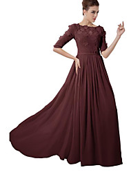 cheap -A-Line Jewel Neck Sweep / Brush Train Chiffon Bridesmaid Dress with Appliques / Ruching