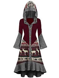 cheap -Women's Date Vacation Vintage Street chic Swing Dress - Geometric Color Block Deer, Ruffle Black Wine Red S M L XL
