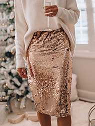 cheap -Women's Party / Evening / Event / Party Street chic Bodycon Skirts - Solid Colored Sequins Black Wine Gold S M L