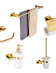 cheap -Solid Brass 5 Piece - Towel bar /Toilet Paper Holders / Towel Rings/Toilet brush/Toothbrush holder Gold Plated Brass