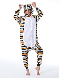 cheap -Adults' Kigurumi Pajamas Tiger Onesie Pajamas Flannelette White Cosplay For Men and Women Animal Sleepwear Cartoon Festival / Holiday Costumes / Leotard / Onesie