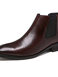 cheap -Men's Leather Shoes Leather / Cowhide Spring & Summer / Fall & Winter Business / Casual Boots Breathable Booties / Ankle Boots Black / Brown / Wine