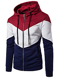 cheap -Men's Full Zip Patchwork Cotton Track Jacket Running Jacket Hoodie Jacket Running Fitness Jogging Windproof Breathable Soft Sportswear Jacket Hoodie Long Sleeve Activewear Micro-elastic