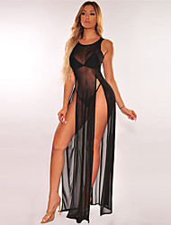 cheap -Women's Maxi Blushing Pink Orange Dress Elegant Sophisticated Vacation Beach A Line Solid Colored Split S M Slim