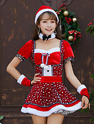cheap -Mrs.Claus Dress Women's Adults' Costume Party Christmas Christmas Velvet Top / Gloves / Hat / Neckwear / Gloves