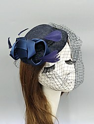 cheap -Feather / Fabric / Net Fascinators / Hats / Headwear with Feather / Cap / Satin Bowknot 1 Piece Wedding / Special Occasion Headpiece
