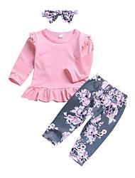 baratos -bebê Para Meninas Moda de Rua Floral Manga Longa Padrão Conjunto Rosa