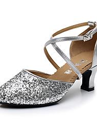 cheap -Women's Modern Shoes / Ballroom Shoes Synthetics Buckle Heel Buckle / Paillette Cuban Heel Dance Shoes Black / Gold / Silver / Performance / Practice