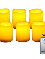 Недорогие -6 шт. 4 * 5 см пластиковые беспламенные светодиодные обету свечи на батарейках электрический чай свет реалистичный мерцающий пламя помахал краем с пультом дистанционного управления и таймер на