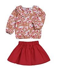 baratos -bebê Para Meninas Moda de Rua Floral Manga Longa Padrão Conjunto Vermelho