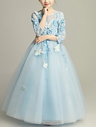 cheap -Ball Gown Floor Length Flower Girl Dress - Tulle 3/4 Length Sleeve Jewel Neck with Beading / Appliques