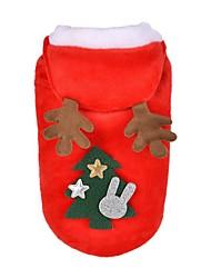 baratos -Cachorros Gatos Súeters Camisola com Capuz Inverno Roupas para Cães Vermelho Ocasiões Especiais Tecido Felpudo Animal Natal Fantasias Natal S M L XL