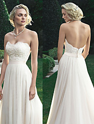 cheap -A-Line Wedding Dresses Sweetheart Neckline Court Train Polyester Strapless Beach Backless with Appliques 2021