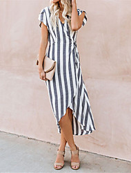 cheap -Women's Gray Dress Elegant Sheath Striped V Neck S M