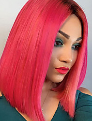 cheap -Unprocessed Virgin Hair 13x6 Closure Lace Front Wig Bob Middle Part Deep Parting style Brazilian Hair Peruvian Hair Straight Red Wig 150% Density Best Quality Hot Sale 100% Virgin Comfy Coloring