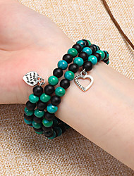 cheap -Women's Black Green Pink Bead Bracelet Wrap Bracelet Vintage Bracelet Layered Alphabet Shape Heart Classic Vintage Trendy Fashion Boho Stone Bracelet Jewelry Brown / White / Green For Daily School
