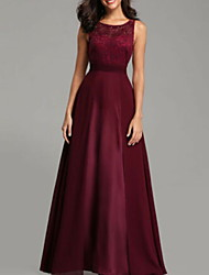 cheap -A-Line Jewel Neck Floor Length Chiffon Bridesmaid Dress with Tier