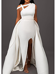 cheap -A-Line Elegant Formal Evening Dress One Shoulder Sleeveless Sweep / Brush Train Satin with Split Front 2020