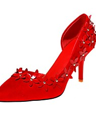 cheap -Women's Heels Stiletto Heel Pointed Toe Beading / Satin Flower Faux Leather Sweet / Minimalism Walking Shoes Fall / Spring & Summer Red / Party & Evening
