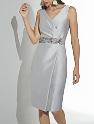 cheap -Sheath / Column V Neck Knee Length Satin Elegant Cocktail Party / Holiday Dress 2020 with Beading