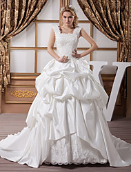 cheap -A-Line Wedding Dresses Square Neck Court Train Lace Satin Regular Straps with Pick Up Skirt Beading Appliques 2020