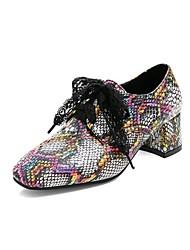 cheap -Women's Heels Chunky Heel Square Toe Bowknot PU Vintage / Casual Summer Black / Yellow / Green