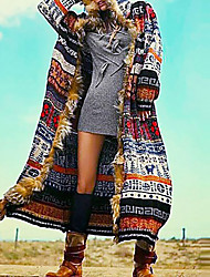 cheap -Women's Daily Fall & Winter Regular Coat, Geometric Hooded Long Sleeve Polyester Rainbow