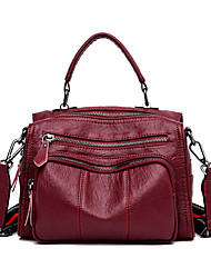 cheap -Women's Zipper PU Leather / Faux Leather Tote Leather Bags Solid Color Wine / Black / Purple / Fall & Winter