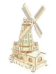abordables -Puzzles 3D Puzzles en bois Moulin à vent Simulation Fait à la main En bois 132 pcs Enfant Adulte Tous Jouet Cadeau