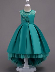 cheap -A-Line Asymmetrical Pageant Flower Girl Dresses - Satin Sleeveless Jewel Neck with Lace / Bow(s) / Beading