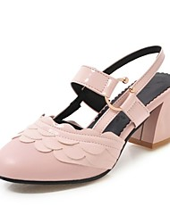 cheap -Women's Heels Chunky Heel Round Toe Stitching Lace Faux Leather Casual / Sweet Walking Shoes Fall / Spring & Summer Black / White / Light Pink / Party & Evening