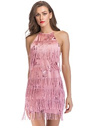 cheap -Women's 1920s The Great Gatsby Mini Sheath Dress - Solid Colored Sequins Tassel Fringe Halter Neck Black White Blushing Pink S M L XL