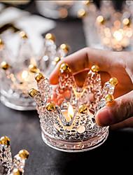 cheap -1PCS European Style Crown Glass Candleholder Fashion Home Decoration